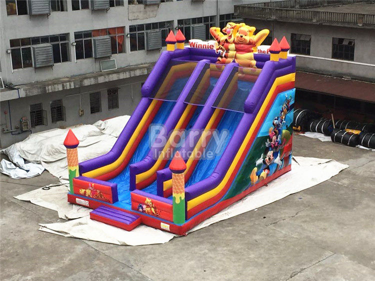 China Diapositiva inflable el 12*8*8m de los carriles del niño doble profesional del oso o modificado para requisitos particulares fábrica