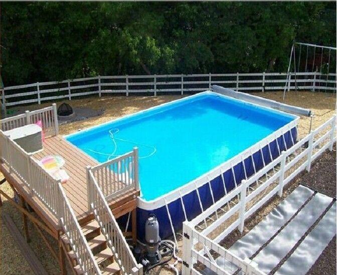 Lona inflable azul del pvc de la piscina del patio trasero for Material piscina barato